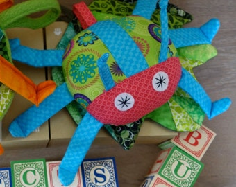 Stuffed Bug & Quilted Leaf in Green/Pink/Blue