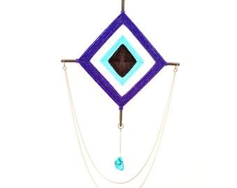 "God's Eye - Evil Eye Talisman w/ Howlite Gemstone Pendant, 8"" x 8"" / Nazar / Ojo de Dios / Magical Protection / Ward Off Evil / Blessing"