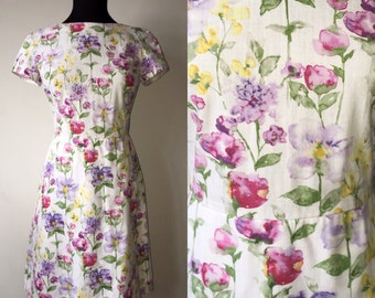 Vintage handmade floral 50s garden party tea dress size small
