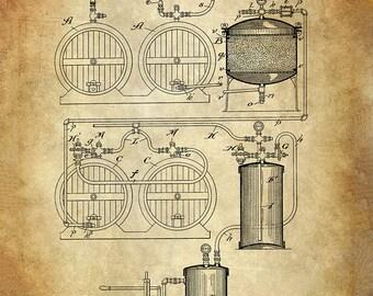 Process of Making Beer Patent Art Print - Beer Patent Print - Brewing Patent Print - Beer Brewing Patent -