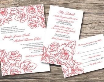 Floral Wedding Invitation Set + Spring Wedding Digital Files