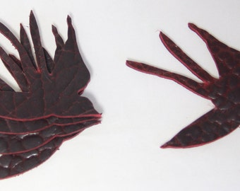 Set of 10 Sew On Flying Sparrows Leather Shapes in 3 colors