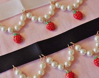 Lolita pearl enamel strawberry choker necklace kawaii harajuku cosplay cute girl jewelry accessories