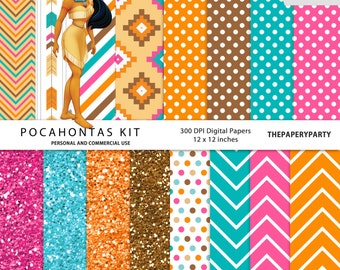 Pocahontas 16 Digital Papers Kit 300 dpi 12 x 12 inches