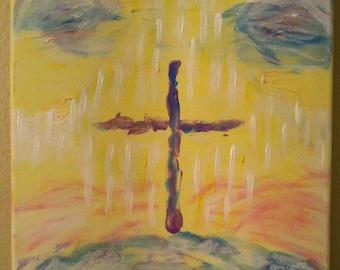 """Cross Painting, Original Painting, 12"""" x 9"""""""