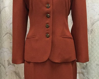 Beautiful Vintage 1980s Rust Colored Two Piece Skirt Suit, Ladies Skirt Suit, David Ramin, Size 8