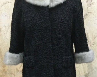 Vintage 1960s Black Lambs Wool Coat With Silver Mink Collars and Cuffs