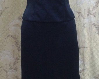 1980s 2-Piece Blue Evening Gown/Bill Levkoff