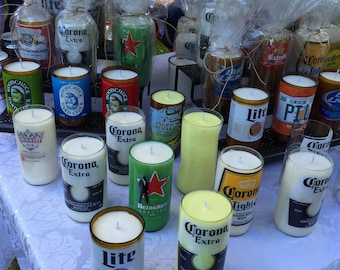 Soy Candles from Recycled Beer Bottles