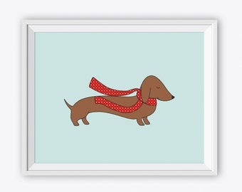 Dachshund Wall Art dachshund drawing | etsy