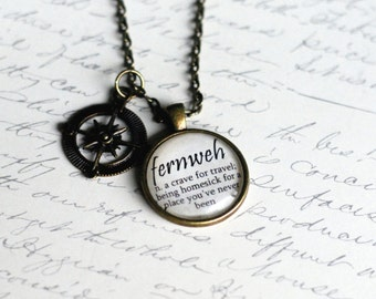 FERNWEH definition pendant, travel jewelry, wanderlust necklace