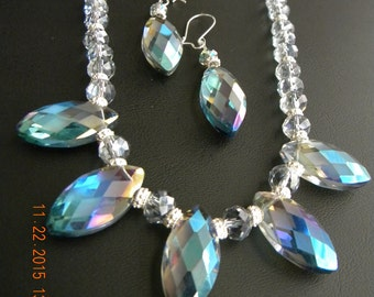 Iridescent Blue Crystal Marquis Drop Beaded OOAK Necklace and Earring Set