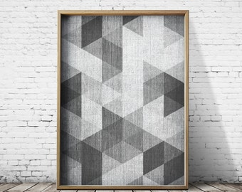 Grey Print Abstract Art Abstract Prints Black and white Geometric prints Geometric poster