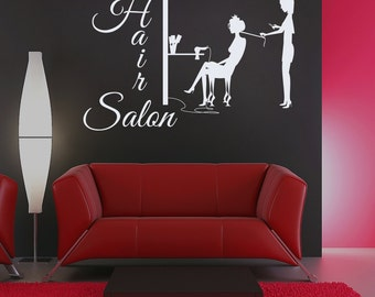 Wall Decal Hair Salon Sign Murals Hairdresser Hairstyle Hair Barbers Hairdo Hairdressing Tools Beauty Salon Vinyl Sticker Home Decor M246