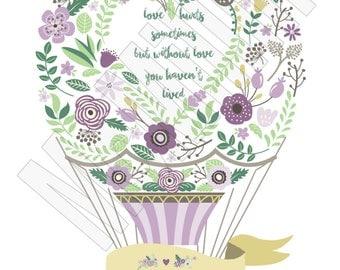 Hot Air Balloon, Purple Hot Air Balloon, Poster of Love
