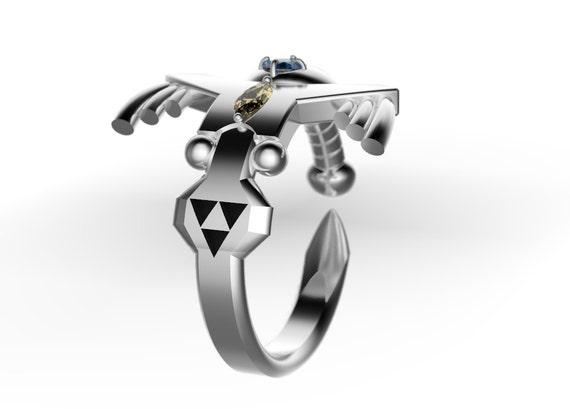Items Similar To Zelda Inspired Triforce Master Sword Ring Wedding Band Nintendo Video Game
