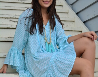 Mint bell sleeve beach kaftan