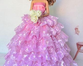 Barbie doll clothes, With POCKETBOOK & BARBIE SHOES, lace barbie gown, barbie clothes, Barbie dress, Barbie ballgown, Barbie fashion