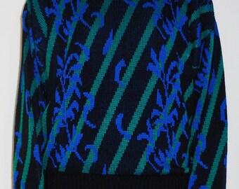 Retro Printed Knit Sweater