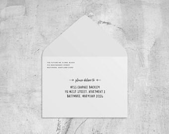 add-on: printed envelopes // envelope address printing // custom envelope printing // return address printing // recipient address printing