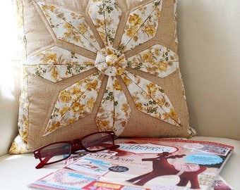 Patchwork Yellow and Cream Toned Pillow Case