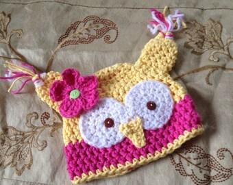 Girl owl hat, newborn hat, Baby owl hat, great baby shower gift