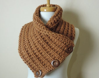 Chunky Hand Knit Scarf in Brown, Buttoned Cowl Scarf, Chunky Cinnamon Button Neck Warmer, Knitted Mens Cowl Scarf