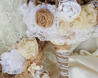 SALE-Vintage Bouquet Set, Wedding, Bridal, Traditional, Burlap, Lace, Rustic, Handmade, Roses of Satin, Fabric Flowers, Pearls, Sola Flowers