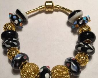 Shades of Black European Style Bracelet