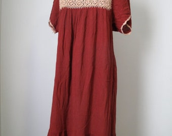 vintage cotton gauze dress burgundy with peach crochet detail