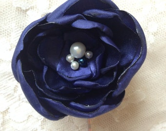 Navy blue hair flower bridesmaid hair accessories flower hair accessories wedding hair pin wedding hair accessories fascinator gift