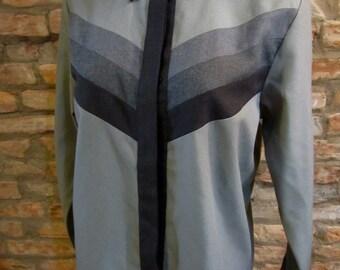Vintage Oxford Shirt • Grey Button Down Shirt • Medium Long Sleeve Blouse • 80s Office Professional • Hidden Buttons Diagonal Stripe Shirt