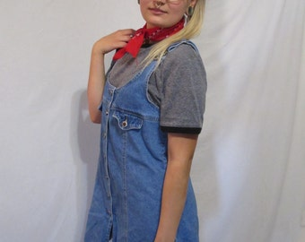 Vintage Denim Overall Button Up Dress