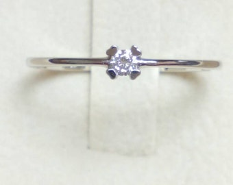 Solitaire Ring-White Gold Solitaire Ring-Hand Made Solitaire Ring