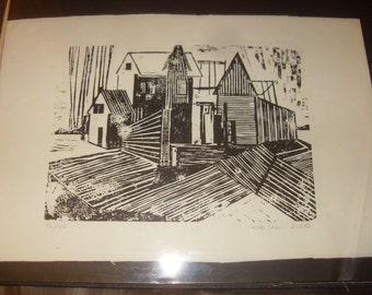 Carole Cole Woodblock Print 20x13