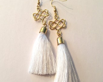 White Tassel Earrings with Gold Knot Connector
