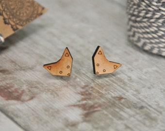 Cute Geometric Cat Wooden Lasercut Stud Earrings SALE
