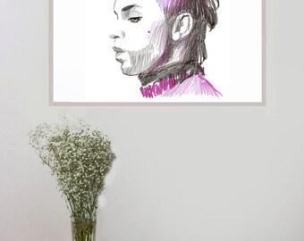 Wall Art print, Pop Art print, Pop Star Poster, original artwork, Original Drawing, Illustration, Celebrity picture, Prince art print