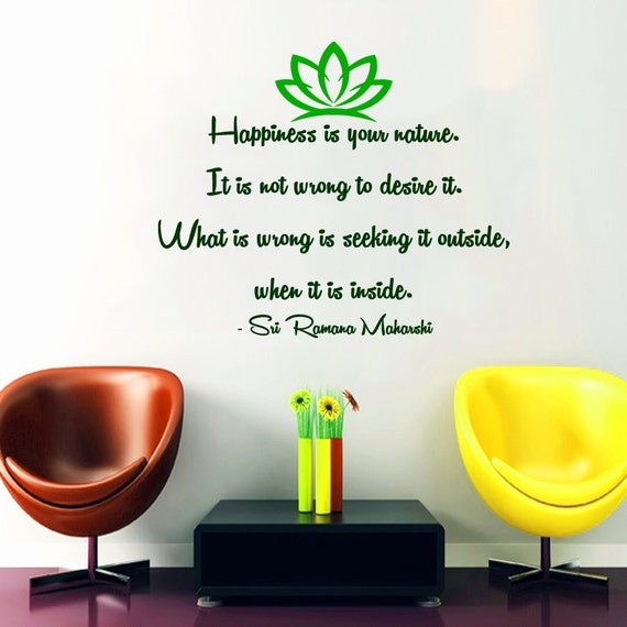 Zen Wall Decal Quote Happiness Is Your Nature by