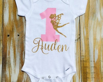 Custom Glitter Fairy Name Birthday Onesies and Tshirts