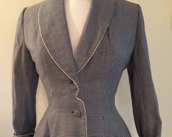 Black and White Lilli Ann Houndstooth Blazer with Extra White Cuffs and Collar Size Medium