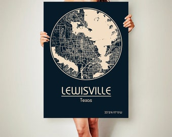 LEWISVILLE Texas CANVAS Map Lewisville Poster City Map Lewisville Texas Art Print Lewisville Texas