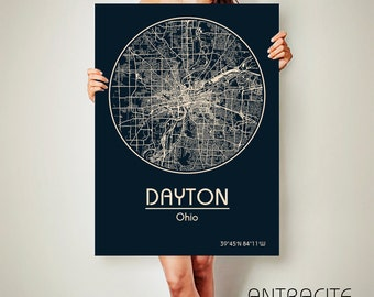 DAYTON Ohio CANVAS Map Dayton Ohio Poster City Map Dayton Ohio Art Print Dayton Ohio poster Dayton Ohio map art Poster Dayton Ohio map
