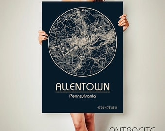 ALLENTOWN Pennsylvania CANVAS Map Allentown Pennsylvania Poster City Map Allentown Pennsylvania Art Print Allentown Pennsylvania