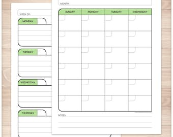 Printable Blank Calendar Planner Green - Monthly Weekly Facing Pages Print front and back - Offset for Binder inclusion - Instant Download