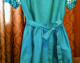blue cotton dress from 70 years