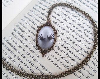 "Locket necklace ""Inner Prison"" cabochon gothic vintage glass blogger pendant medaillon"