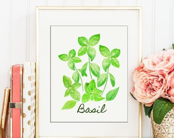 No. 61 Watercolor Basil Illustration, herb illustration, kitchen decor, wall art for instant download, watercolor poster