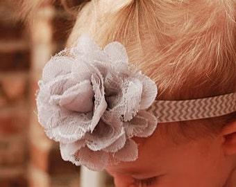 Gray Flower Bow, Gray, Chevron, Baby Bow, Baby Headband, Flower Bow, Flower Headband, Girls Bow, Girls Hair Clip, Girls Bow, Headbands, Bows