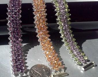 Crystal embellished bracelet- slvr/wt